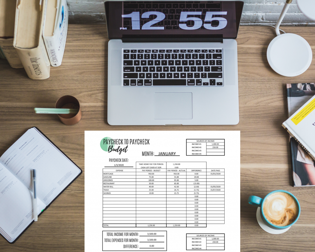 paycheck to paycheck template printable editable pdf