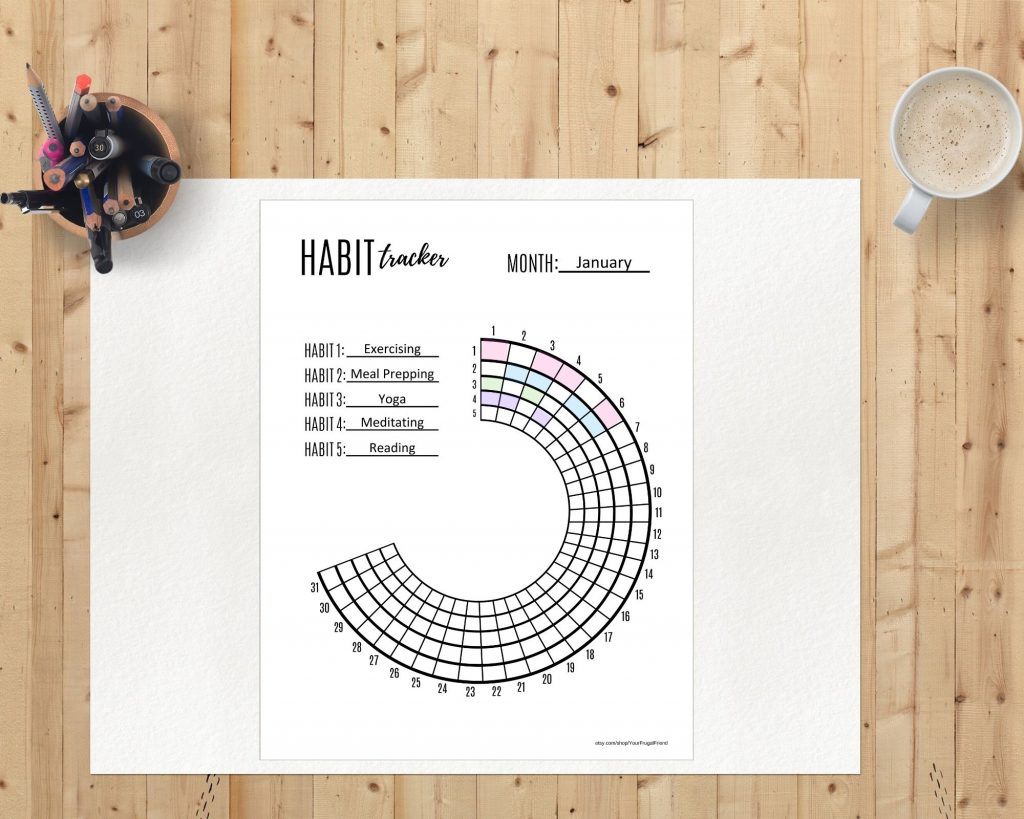 semi circle habit tracker printable