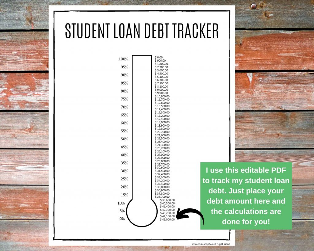 student loan debt tracker editable PDF printable