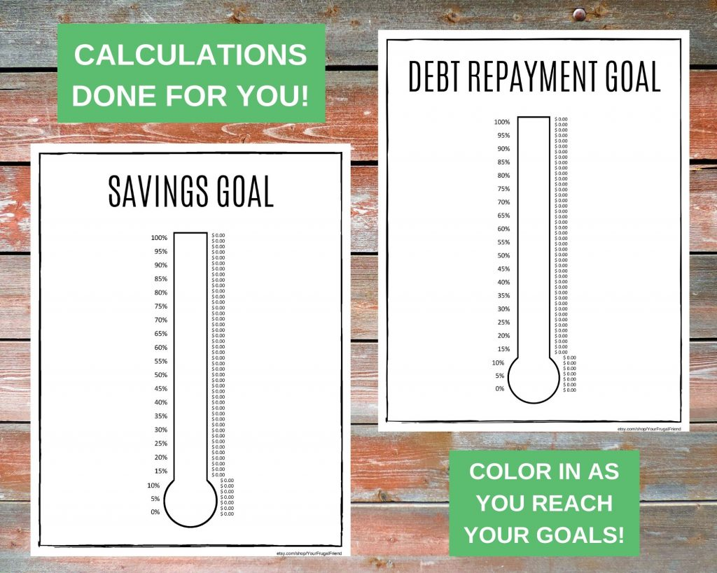 Savings Goal and Debt Repayment Thermometers