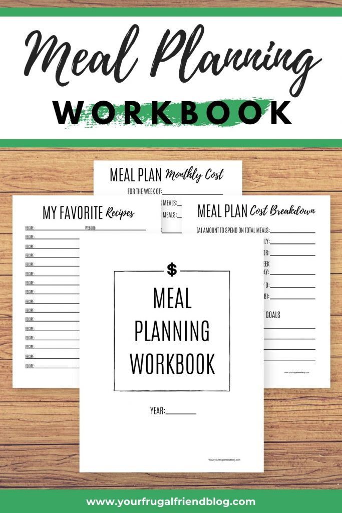 meal planning workbook printable PDF